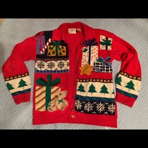 Sweaters - Vintage 80s hand embroidered Christmas sweater